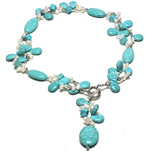 "24"" Beautiful Turquoise Color & White Freshwater Pearl Necklace With Toggle Hook"