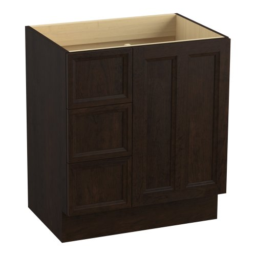 Kohler K-99517-Tkl-1Wb Damask 30-Inch Vanity With Toe Kick, 1 Door And 3 Drawers On Left, Claret Suede