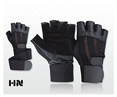 Leather Weight Lifting Gloves (077) Long Wrist Strap Training Power Lifting Lifter PADDED Palm Exercise Fitness Body Building Strengthening Home Gym by Kango Fitness