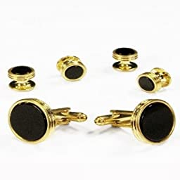 Black Onyx Concentric Circle Edge Tuxedo Studs and Cufflinks Gold Trim