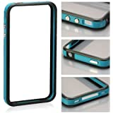 Invero BLUE/BLACK Hard Plastic Rubber Bumper Case with Metal Buttons for Apple Iphone 4 (All Versions)