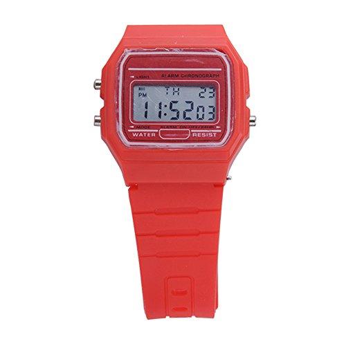 ATOZ Damen Mädchen Mode Gummi Silikon Band Digital Uhren Stoppuhr Armbanduhr (Rot)