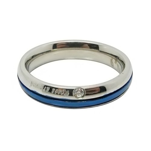 Blue Plated Center Cubic Zirconia Stone Inlay (Diamond Shape) Couple Titanium Stainless Steel Rings (ladies' Size 6)