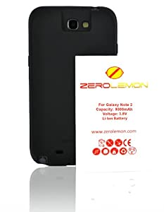 [180 days warranty] ZeroLemon Samsung Galaxy Note II 9300mAh Extended Battery + Free Black Extended TPU Full Edge Protection Case with 180 days Zero Lemon Guarantee Warranty (Compatible with Samsung Galaxy Note II GT-N7100, T-Mobile Galaxy Note II SGH-T889, Sprint Galaxy Note 2 SPH-L900, At&t Samsung Galaxy Note II SGH-i317, and Verizon SCH-i605) With 180 Days ZeroLemon Guarantee Warranty - WORLD'S HIGHEST NOTE 2 BATTERY CAPACITY **USA PATENT PENDING DESIGN**- Black