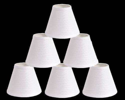 Urbanest Linen Chandelier Lamp Shades, 6-inch, Hardback Clip On, White(set of 6)