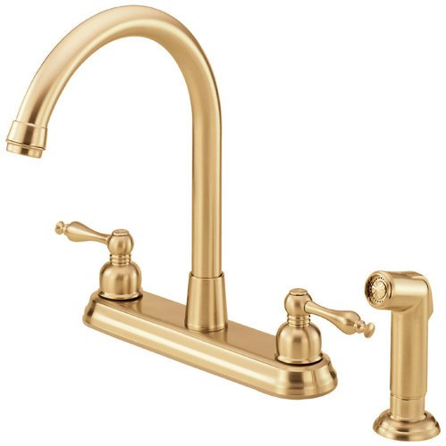 Danze D422055PBV Sheridan Double Handle High-Rise Kitchen Faucet with Spray, Polished Brass