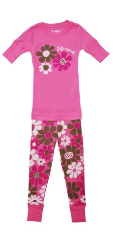 Life Is Good Girl'S Daisy Snuggle Pink Shortsleeve Lounge Set (Xs) front-1009086
