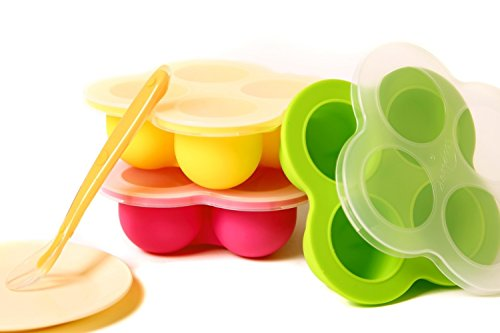 New Baby Food Storage Set of 3 Silicone Containers, 4 Durable Cells, Health BPA Free, Dishwasher Safe, Come with Spoon & Dish, Spill Free Lid, for Food Puree Breast Milk Snacks Sauce & More (Extract Tray compare prices)