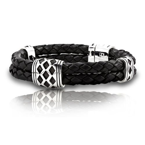 J.Goodman Sterling Silver Black Braided Leather