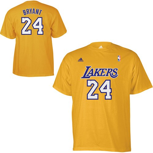 Adidas Kobe Bryant Name and Number Los Angeles Lakers T-Shirt - Gold