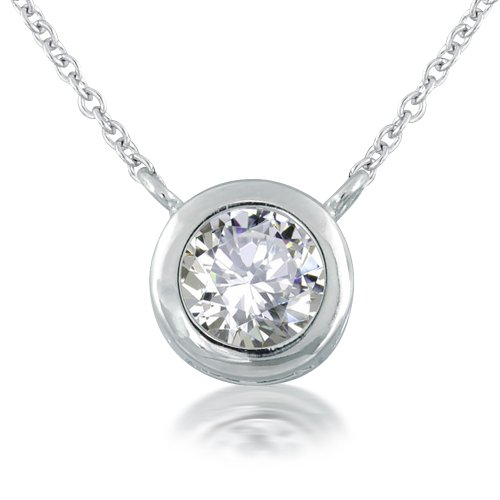 Bling Jewelry Sterling Silver Pendant 2ct (8mm) Bezel-Set Round Cubic Zirconia CZ Solitaire Pendant Necklace - Ideal Gift For Mother, For Her, Birthday, Anniversary, Bridal, Wedding, Engagement
