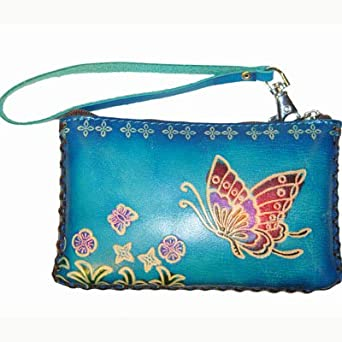 Leather Butterfly Embossed Mini Wristlet Bag