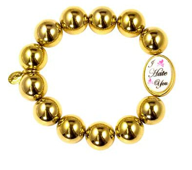 Tarina Tarantino Celebrity Hate You Metallic Bead Bracelet Gold