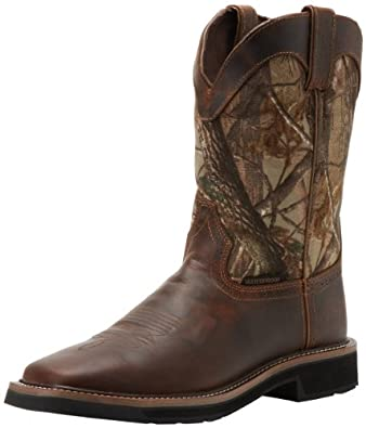 """Justin Original Work Boots Men's Stampede Collection 11"""" Waterproof Boot Stampede Square Toe,Rugged Tan with Perfed Saddle Vamp/900 Denier Nylon RealTree HD,6 D US"""