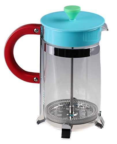 Gourmet 1 Liter Red, Green, and Blue Retro French Press Coffee Brewer