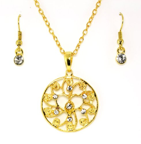 Gold-toned Heart Circle of Love Clear Austrian Crystals Necklace and Earrings Set