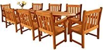 Big Sale LuuNguyen - Adam 9-Piece Extension / Expandable Hardwood Outdoor Furniture Dining Set (Natural Wood Finish)
