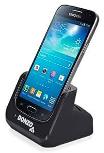 DONZO® Standard USB Dockingstation für Samsung Galaxy S4 mini I9190 & I9195 + Akkufach in der Ladestation + USB Datenkabel + Ladegerät Netzteil - schwarz