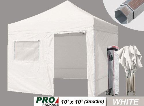 Eurmax Pro Pop Up Canopy Wedding Party Tent Instant Outdoor Gazebo With Sidewalls And Wheeled Carry Bag (3 Sizes, 5 Colors) (White, 10X10) front-884875