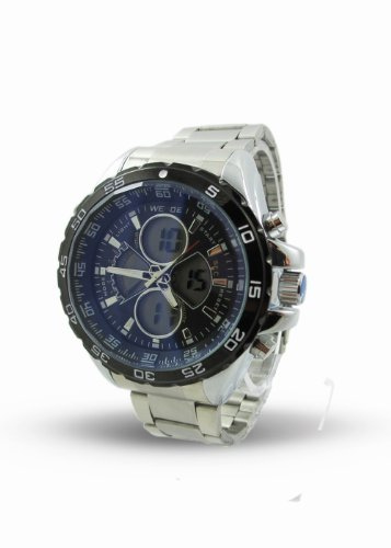 Branded Fashion Unique Wrist Watch Best Christmas Birthday Gift Ideal Mens Watches at Discounted Sale Price - Weide Designer Digital + Analogue Silver Watch