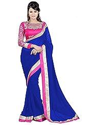 Zeel Fashion Women's Chiffon Sarees(107,Blue)