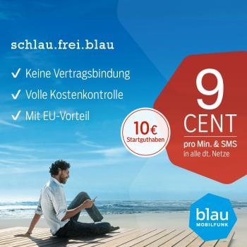 blau 9 Cent Tarif mit 10 € Startguthaben inklusive