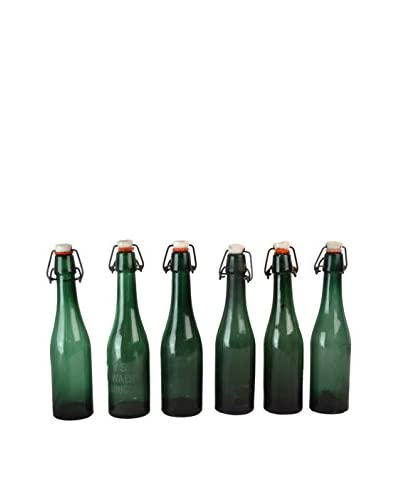 Patina Vie Vintage Set of 6 Belgian Beer Bottles, Green/Red/White