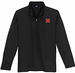 Nebraska Cornhuskers Black Ladies 1 4 Zip Performance Jacket by Vansport
