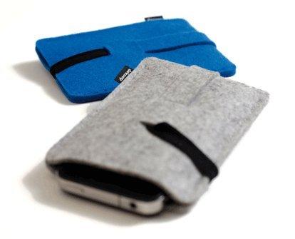 BABUSCHKA groß, Filz Handytasche Ipod, Iphone, 88x125mm, blau, dekoop