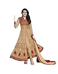 Fashion Fire Women's Brown Embroidered Georgette Anarkali Unstitched Dress Material