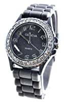 Silicone Gel Ceramic Style Jelly Band Crystal Bezel Womens Watch Gray/Silver by Geneva