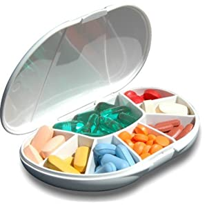 Multi-Day VitaCarry 8 Compartment Pill Box Holds Up To 60 Pills (Assorted color)