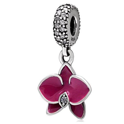 Hoobeads Ciondolo in argento sterling 925, con pendente a forma di orchidea smaltato fucsia e strass trasparenti