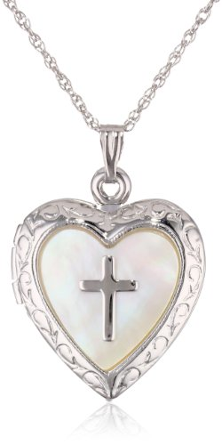 Sterling Silver Heart with Mother-of-Pearl Cross Design Locket Necklace, 19.05'' by Richline Group