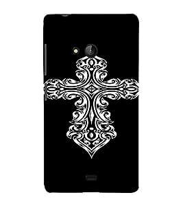 PrintVisa Tribal Art Cross Design 3D Hard Polycarbonate Designer Back Case Cover for Nokia Lumia 540