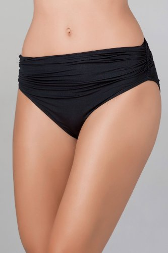Carmen Marc Valvo Graphic Cocktail Shirred High Waist Bottom - Black - M