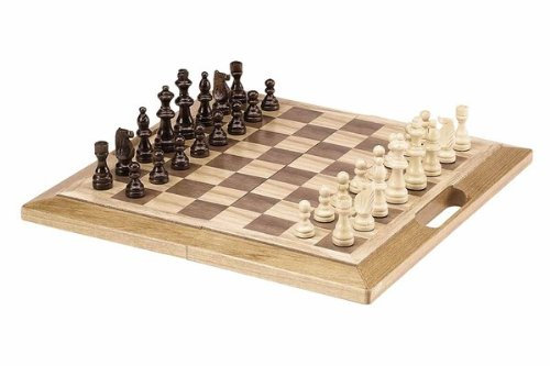 Deluxe Wooden Chess, Checker and Backgammon Set