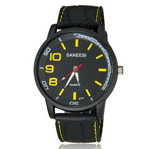 Unisex Analog Black Resin Strap Casual Watch - Yellow