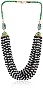 "Lee Angel ""Safina"" Multi- Row Black and White Glass Seed Bead Bib Necklace"