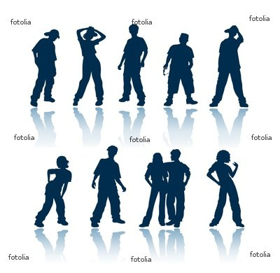 "Wallmonkeys Peel and Stick Wall Graphic - Teenagers Silhouettes - 36""W x 35""H"