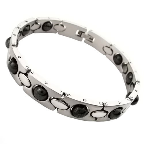 Tungsten Love Stainless Steel Healing Magnetic Bracelet Mosaic Of Natural Bio-Magnetic Health Care Function