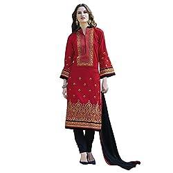 Bhelpuri Women Red Cotton Dress Material