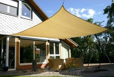 Heavy Duty 16' x 16' Square Garden Outdoor Sun Shade Sail Canopy Sand (Go Diego Go Sun Shade compare prices)