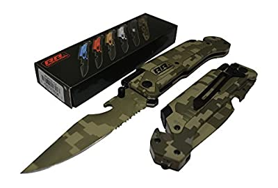 NEW Rogue River Tactical Knives Best Military Green CAMO 6-in-1 Multitool Survival Pocket Knife with Magnesium Fire Starter, LED Flashlight Bottle Opener Seat Belt Cutter and Windows Breaker by Rogue River Tactical
