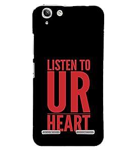Listen To UR Heart 3D Hard Polycarbonate Designer Back Case Cover for Lenovo Vibe K5 Plus :: Lenovo Vibe K5+