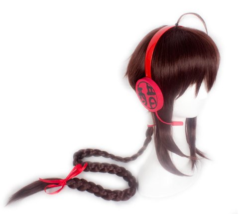 Cf-Fashion Vocaloid Ling Caiyin Long Brown Cos Party Wig Christmas Halloween Wigs With Handmade Prop Original Headphones