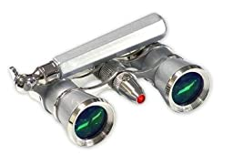 LaScala Optics Iolanta 3 x 25 Lorgnette Opera Glasses/Flashlight Platinum Silver Rings - LaScala Optics LSI06FL