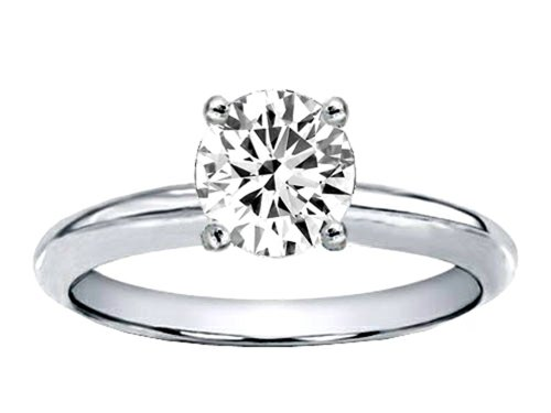 Tommaso Design Genuine White Topaz Round 7Mm Solitaire Engagement Ring 10K Size 6
