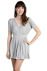 G2 Chic Women's Solid A-Line Dress with Overlapping V Neckline
