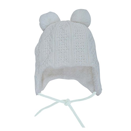 Comfy Baby Knit Beanie Hat for Fall Winter, Ear Flap Chin Strap Fully Lined (S: 3-12 Months, Cream Bear)